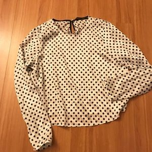 Tops - Zara Work Blouse dots black white medium